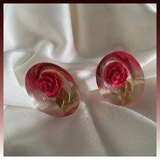 Reversed Carved  Oval Red Rose Earrings