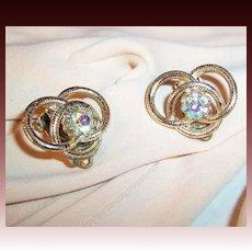 Vintage Rhinestone Love Knot Earrings