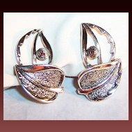 Sarah Coventry WIND SONG Earrings ~ Silvertone Leaves