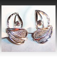 Sarah Coventry WIND SONG Earrings ~ Silvertone Leaves
