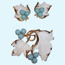 "1967 ""Placid Beauty"" Sarah Coventry Brooch & Clip Earrings Set"