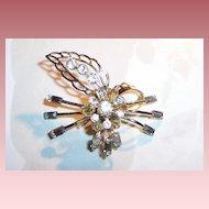 Rhinestones & Baguettes Vintage Flower Pin / Brooch