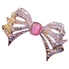 Excellent!  1928 Jewelry Co. Aurora Borealis Rhinestones & Pink Glass Bow Pin