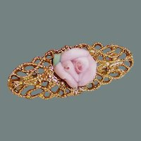 1928 Jewelry Co. Filigree Pin With Pink Porcelain Rose