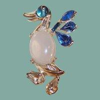 Jelly Belly Rhinestone Duck Pin Brooch
