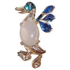 Jelly Belly Rhinestone Duck Pin Brooch