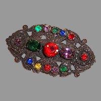 Deco Pot Metal Multicolor Stones Pin Brooch