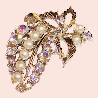 Vintage Aurora Borealis Rhinestone Cascading Cluster of Grapes Pin