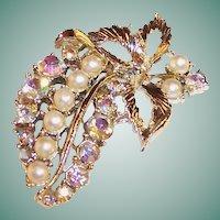Vintage Aurora Borealis Rhinestone Cascading Cluster of Grapes Pin