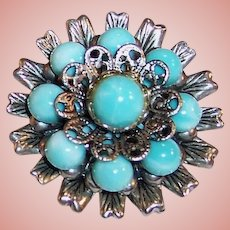 Vintage Southwestern Turquoise & Silver Colored Brooch