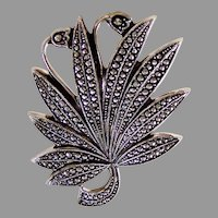 Mid-Century West Germany Eloxal Sparkling Marcasite Leaf Pin