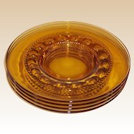 "SET of 4: King's Crown Amber 8 1/4"" Luncheon Plates"