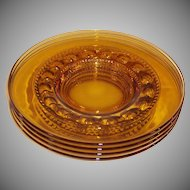 """SET of 4: King's Crown Amber 8 1/4"""" Luncheon Plates"""