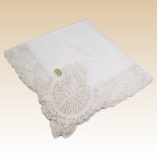 Large Sheer White Austrian Lace Bridal Hankie