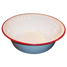 Excellent! White with  Red Trim Enamel Pan Basin Bowl