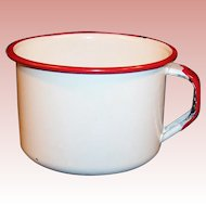 Vintage White with Red Trim Enamelware Soup / Coffee Mug