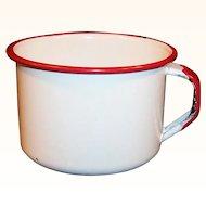 Vintage White with Red Trim Enamelware Soup / Coffee Mug
