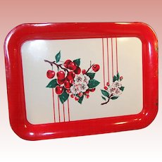 Large Vintage 1950's Red Cherries Cherry Blossom Enamelware Serving Tray