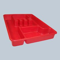 Sale!   Red Lustro-Ware Utensil (Tableware) Tray
