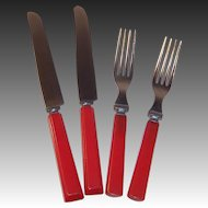 Set of 2: Red Bakelite Knives & Forks