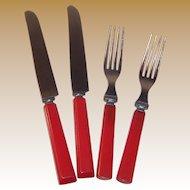 Set of 2: Red Bakelite Knives & Forks