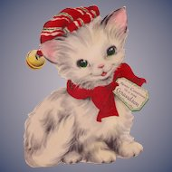 Large Gorgeous Christmas Kitten Flocked Stand Up Card