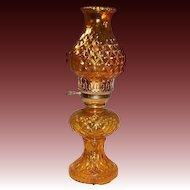 Vintage Amber Glass Hurricane Lamp