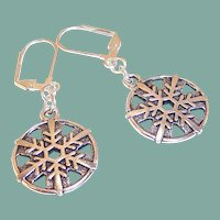 Silver-Plated Snow Flake Lever Backed Earrings