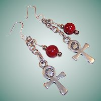 Handcrafted Coptic Cross & Red Quartzite Sterling Silver Earrings
