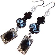 "3"" Long Dangling Black Cross, Swirling Lampwork Glass & Filigree Artisan Earrings"