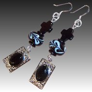 "3"" Long Dangling Black Cross, Swirling Lampwork Glass & Filigree Artisan Earrings"