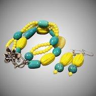 Aqua Blue & Neon Yellow Multi Strand Bracelet & Earrings Set