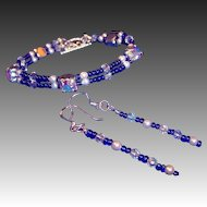 Feminine Cobalt Blue, AB Crystals, & Glass Pearls Bracelet /  Sterling Silver Earrings