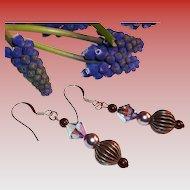 Rose Gold & Swarovski Tanzanite Crystal Earrings