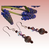 Rose Gold & Swarovski Tanzanite Crystal Earrings