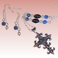 Sterling Silver Cross Faith, Hope, and Love Necklace and Earrings