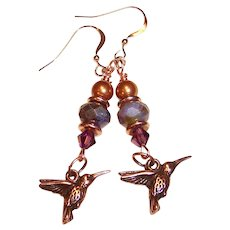 OOAK Amethyst, Copper, & Rose Gold Humming Bird  Earrings