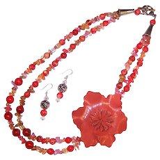 FUN! OOAK Leather Flower Power Tastefully Orange Necklace /  Earrings