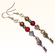 """Opposites Attract"" Moody Love Key to Heart Earrings"