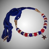 Sparkling Red & Blue Crystals with a Sterling Star Pendant Patriotic Necklace