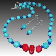Classic & Colorful Red, Turquoise, & Blue Hand Crafted  Necklace and Earrings Set