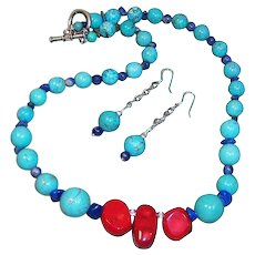Classic Colorful Red Coral, Turquoise Howelite, Lapis Lazuli Blue Hand Crafted  Necklace and Earrings Set