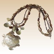 "Double Strand Shell, Pearl, & Sea Turtle ""Perseverance"" Necklace"