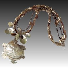 """Double Strand Shell, Pearl, & Sea Turtle """"Perseverance"""" Necklace"""