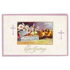 Postmarked 1912  Embossed Easter Greetings Postcard