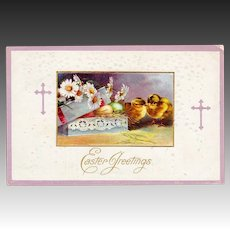 Postmarked 1912  Embossed Easter Greetings Postcard