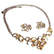 Coro Amber Rhinestone Demi Parure  ~ Necklace & Earrings