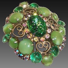 Spring Green Art Glass & Aurora Borealis Brooch