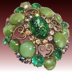 Spring Green Art Glass & Aurora Borealis Brooch
