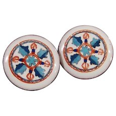 Vintage Hand Painted Clip On Porcelain Earrings